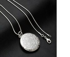 Women's 925 Sterling Silver Vintage Photo Locket Pendant Necklace Jewellery