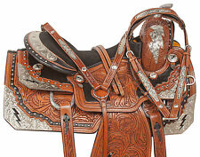 "16"" LIGHTNING SILVER CUSTOM SHOW WESTERN HORSE PARADE EQUITATION SADDLE TACK"