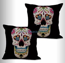 US SELLER- 2pcs sugar skull Dia de Los Muertos cushion cover decorative pillow