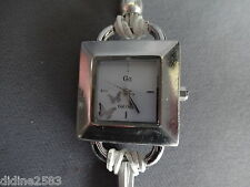 GO ONLY GIRL MONTRE BRACELET CUIR CORDON BLANC GRIS CARRE FEMME WOMAN WATCH