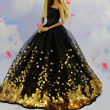 Barbie Doll Dress Wedding Clothes/Gown Princess Party Black Sequin Dress New