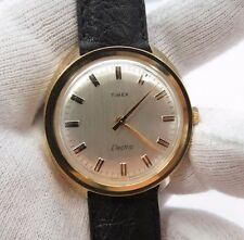 "TIMEX,1971,Electric.""Round Clean 2-Tone dial"",CLASSIC Leather MEN'S WATCH,1442"