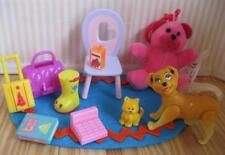 Happy family TODDLER Nursery Baby PLAYROOM DOG CAT MINI TOYS CHAIR RUG playset