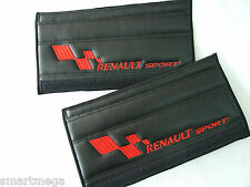Seat Belt Harness Pads for Renault Sport  , Black PU Leather , Set of 2 pads