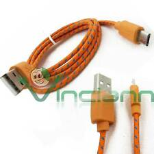 Cavo dati Tessuto Nylon ARANCIONE per Samsung Galaxy S4 Mini i9195 cavetto USB