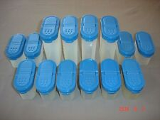 Lot 14 Tupperware Modular Mates 10 Small and 4 Large Spice Shakers~Blue Lids~VGC