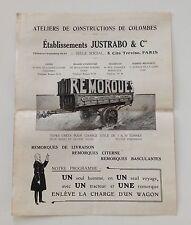 PUBLICITE CATALOGUE / JUSTRADO PARIS COLOMBES / TRACTEUR CHARRUE REMORQUE