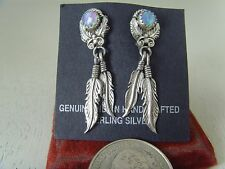 Ear Rings With Nice Opal Stone .925 Sterling Silver by Running Bear R.B Navajo