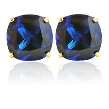 2.01 CARAT 14K SOLID YELLOW GOLD CUSHION CUT BLUE SAPPHIRE STUD EARRINGS