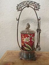 Victorian Silver Plated Pickle Castor Cranberry enamel flowers Bird finial