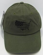USA American Flag Cap US Military Unconstructed Dad Hat Adjustable OSFM Olive