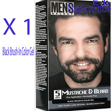 1X Men's Select Mustache & Beard Hair Black Brush-In Color Dye Gel Ammonia Free