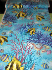Tropical Fish Seashell Fabric ~ 100% Cotton By The Yard ~ Coral Ocean Sea Shell