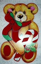 VINTAGE CHRISTMAS EUREKA FLOCKED CUTE RED BOW BEAR CANDY DIE CUT OUT #2