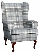FIRESIDE WING BACK QUEEN ANNE CHAIR SUPERIOR  LUXURY GREY TARTAN FABRIC