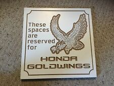"Smooth Particle Board Carved Sign.  HONDA GOLDWINGS. Hand Made.  12"" X 12""."