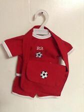 SOCCER OUTFIT WITH  MATCHING BAG FITS AMERICAN GIRL DOLL/BITTY BABY. RED. NEW