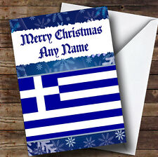 Greek Flag / Greece Personalised Christmas Greetings Card