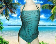 NEWGOTTEX PALM D'or BANDEAU green teal BATHING SUIT SWIMSUIT 1 Piece Size - 6