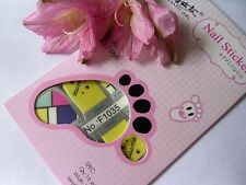 Nail Art Self Adhesive Full Toe Nails Polish Wrap Sticker Pink Abstract 1035T