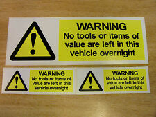 "3x ""No Tools left in this vehicle"" - self adhesive warning decals/stickers"