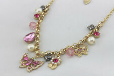 N471 Betsey Johnson Gem Pink Madame Butterfly with Tassel Leaf Chain Necklace US