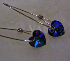 Swarovski Crystal Heart Love AB Peacock Blue Heliotrope Earrings Colors Anting