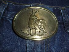 Vintage Brass, Made in USA, Deer Motif Belt Buckle!