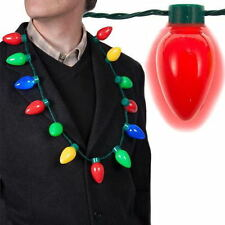 LED Light Up Flashing Christmas Bulb Necklace Party Favors For Adults Kids Gift