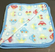 Vintage Crown Crafts Baby Blanket Blue Red Yellow Cars Roads Cuddle Me 28x29