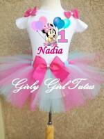 Minnie Mouse Pink/Blue Baby Girl 1st Birthday Tutu Outfit Party Dress Set