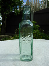 Antique British Vintage Green Glass Essence Coffee & Chicory Bottle Shieldhall