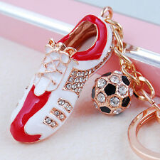 Football Shoe Sport Lovely Pendant Crystal Purse Bag Car Key Ring Keychain Gift