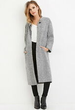Blogger Forever 21 Heather Grey Longline Buttoned Wool-Blend Coat Small S