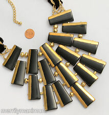 Chico's Signed Bib Statement Necklace Gold Tone Chains & Foil Accents Black