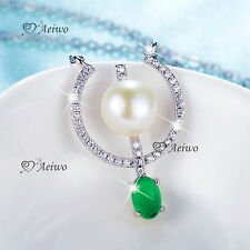 18K WHITE GOLD FILLED CRYSTAL PENDANT LONG CHAIN NECKLACE IMITATION PEARL