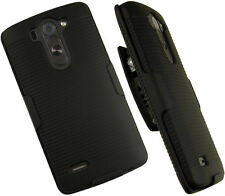 BLACK RUBBERIZED HARD CASE BELT CLIP HOLSTER w/ STAND FOR LG G3 VIGOR BEAT MINI