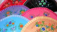 Joblot of 12 pcs Wooden Hand Painted Spanish Folding Hand Fan NEW Wholesale C