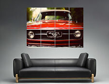 Ford Mustang Red Car Vintage Classic  Wall Art Poster Grand format A0