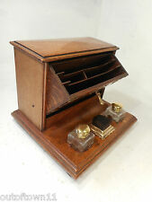 Antique Oak Desktop Writing Stand , inkwell , letter rack  ref 2558