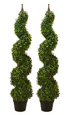 """2 ARTIFICIAL 47"""" BOXWOOD SPIRAL TOPIARY IN OUTDOOR TREE POT PLANT BUSH PATIO"""