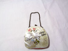VINTAGE MOTHER OF PEARL MOP MINIATURE PURSE HAND PAINTED NEW BRIGHTON SOUVENIR