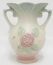 BEAUTIFUL HULL POTTERY IVORY 6-1/2 INCH OPEN ROSE VASE NUMBER 137