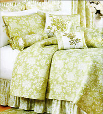 King Quilt Shelby Green White Toile French Country Cotton Coverlet + Bonus