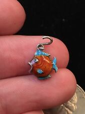 Vintage 1960's Sterling Silver & Enamel Fish Charm -England -No Chips!!