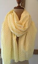 Scarf In Pretty Lemon With White Embossed Daisy Design.