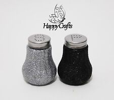 Glitter Salt & Pepper Shakers Set Black & Silver