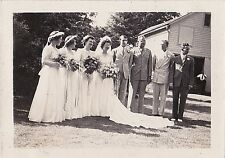 Old Antique Photograph Bride and Groom & Wedding Party Holding Flowers in Yard
