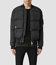 £258 ALL SAINTS FURLOUGH -S- BLACK PUFF PADDED GOOSE DOWN MA-1 BOMBER JACKET