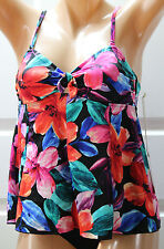 NWT NEW Caribbean Joe Floral Swim Tankini Top Multi-Clr (Missing Straps) Size 12